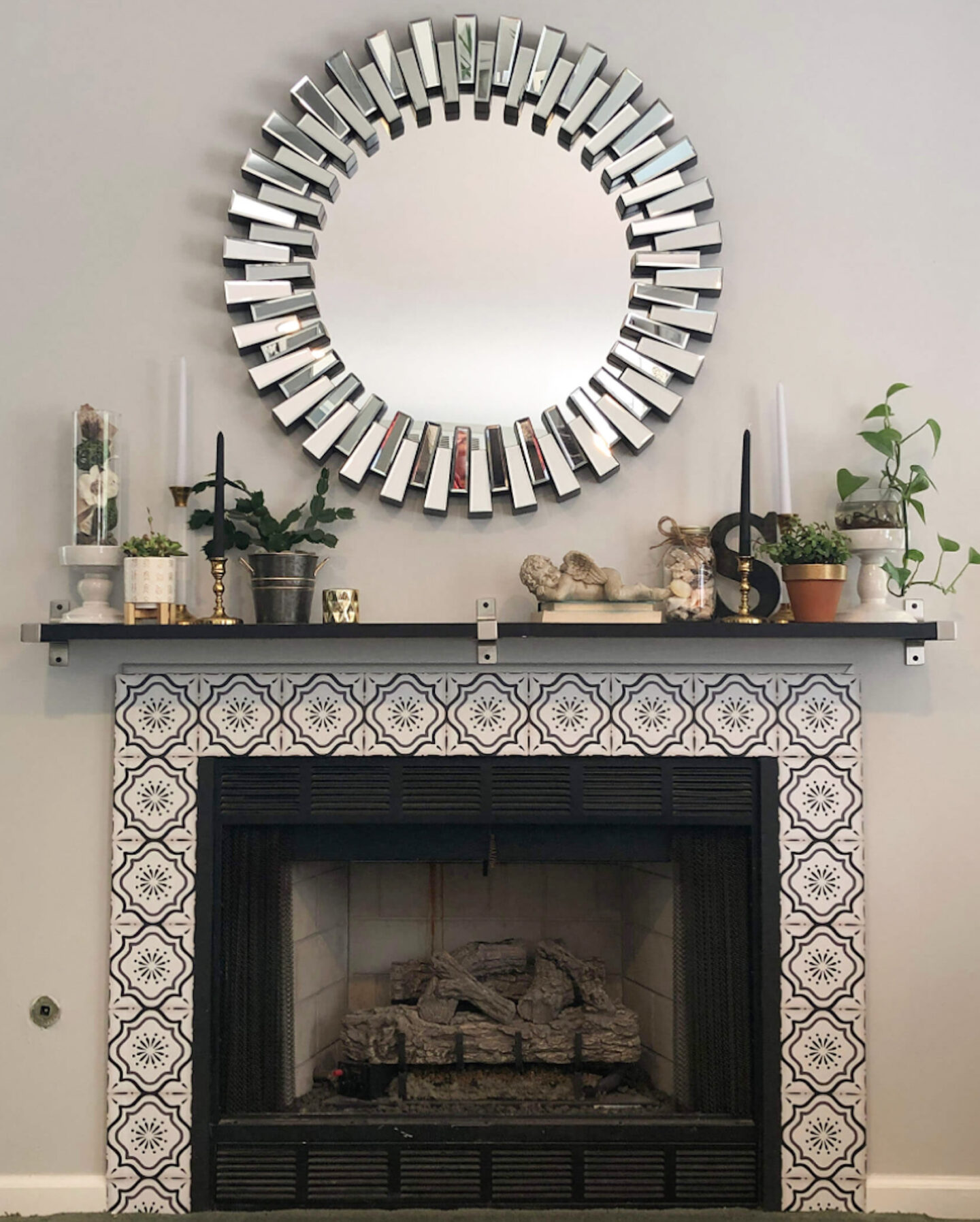 finished fireplace makeover pic